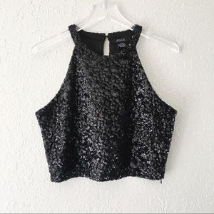 ANGL Black Sequin Cropped Top L
